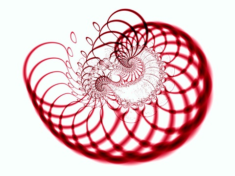 Image shows a red fractal on a white background, roughly shaped like a cradle.