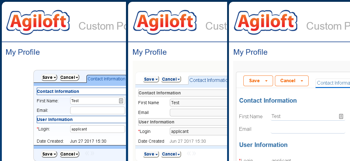 3 versions of Agiloft's End User Interface