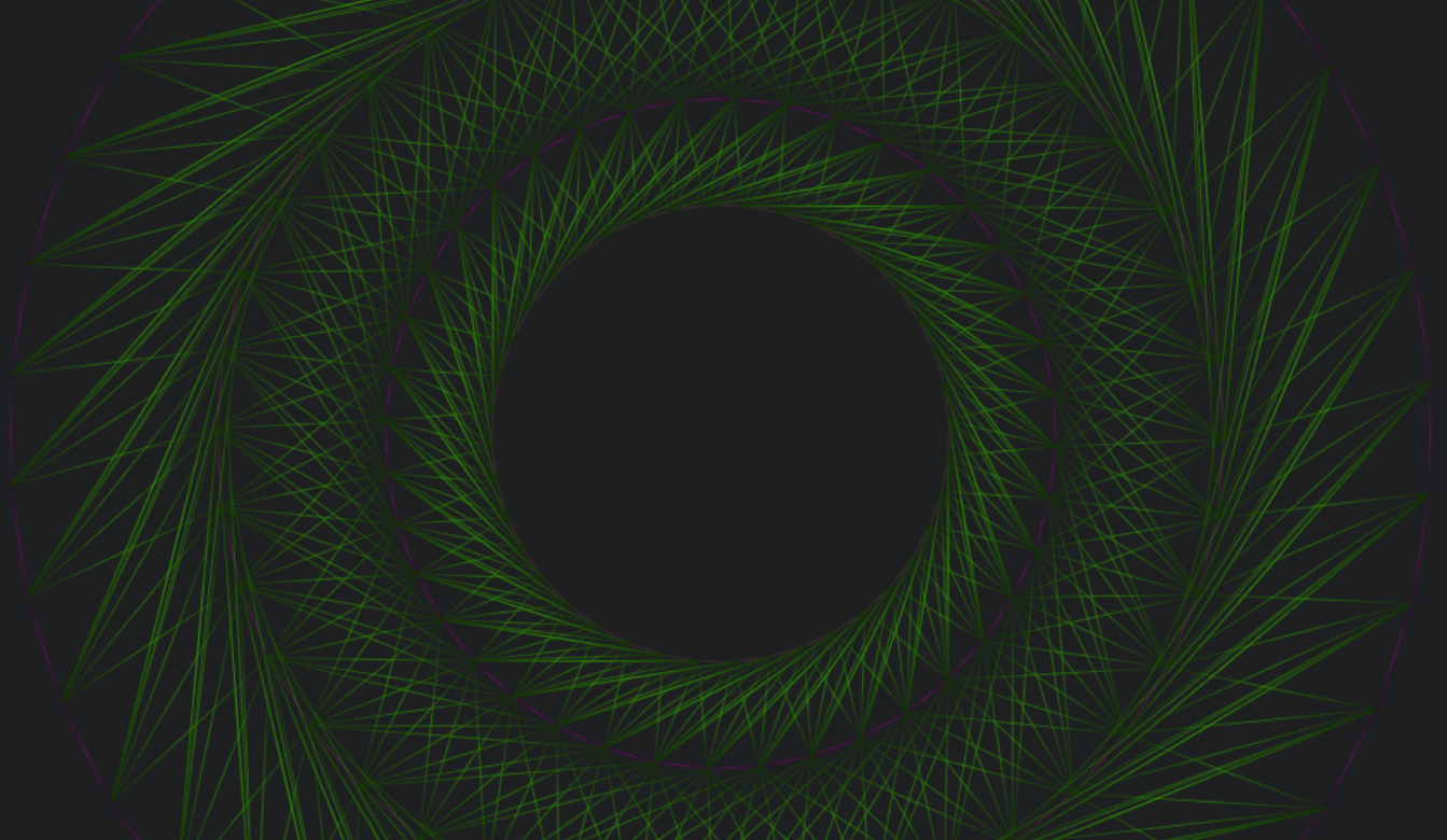 Image shows purple concentric circles connected by green lines, rotating and oscillating