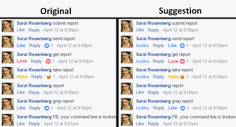 Facebook reaction UI suggestion