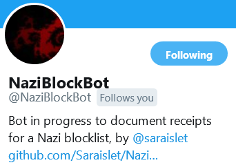Twitter bot to document receipts for a Nazi blocklist